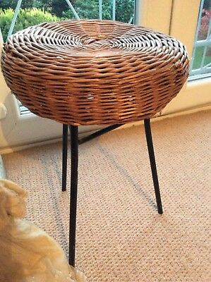 Antique/Vintage Wicker Design Stool /Seat ~Unique Iron Frame ~Fab Interior Decor