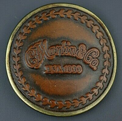 Vintage 1970's  C.F. Martin & Co. Round Brass & Leather Belt Buckle