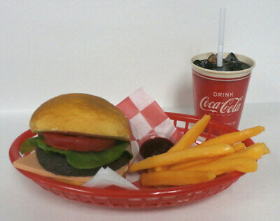 Fake Food Diner Car HopCheeseburger Fries W/ 50'S Red Coke Cup