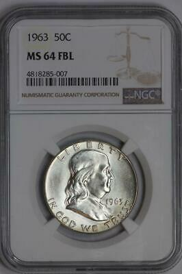 1963 Silver Franklin Half Dollar MS64 FBL NGC United States Mint 50c Coin