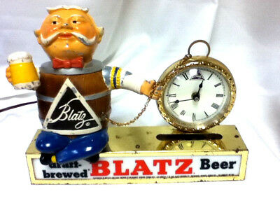 Blatz beer sign clock pocket watch barrel guy lighted metal statue light bar LC3