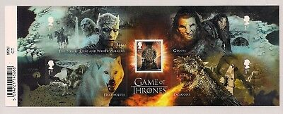2018 Gb Qeii Game Of Thrones Commemorative Barcode Miniature Stamp Sheet Mnh