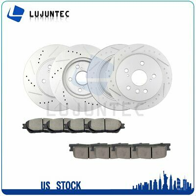 Front and Rear Discs Brake Rotors and Ceramic Pads For Toyota Camry 05-06 SE V6