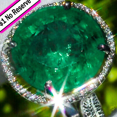 14K gold Natural 14.22ct COLOMBIAN EMERALD Diamond ESTATE Classic Cocktail Ring