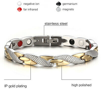 New Therapeutic Energy Healing Bracelet Stainless Steel Magnetic Therapy Bangle