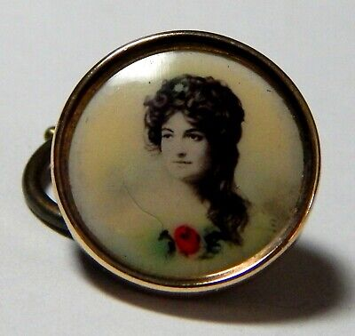 ANTIQUE GENT'S GILT WAISTCOAT BUTTON w/TINTED PHOTO of A BEAUTIFUL YOUNG WOMAN