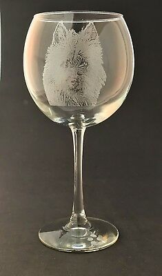 Etched Australian Terrier on Elegant Wine Glasses-Set of 2