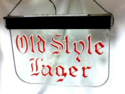 Old Style lager beer sign ROG reverse painted glass hanging bar light lighted A+