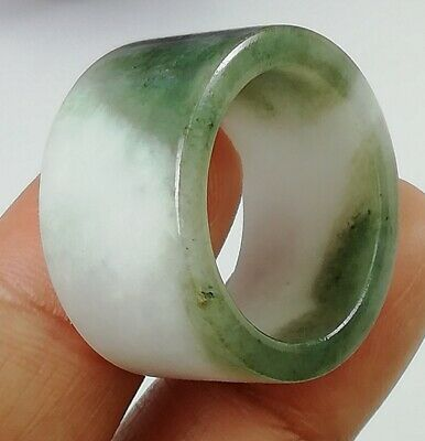 Two Tone Jade Band Ring Wide Thumb Men Archer Natural Solid Stone Hip Hop Sz 10