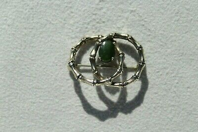 Vintage Wells Celtic Bamboo Sterling Silver brooch pin w/ Green Connemara Marble