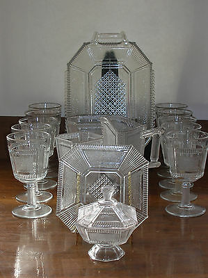 "EAPG ""Pleat & Panel""  Bryce Glass Ca. 1870s ~ 15 Pieces Tray Goblets Spooner"