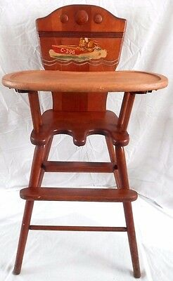Antique WWII Era Baby / Child's High Chair Wood Painted/Decal / Nappanee Indiana