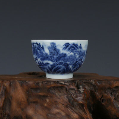 "3"" China old antique Porcelain Qing Kangxi Blue & white landscape Cup"