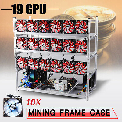 6/8/12/14/19GPU Aluminum Stackable Coin ETH Open Air Frame Mining Rig Case&Fans