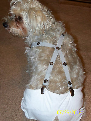 Dog-Suspenders-Pet-Diaper-Accessories-Gray/Metal Buttons-Custom Made S/M Sizes
