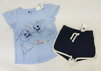 ad2832ffc NWT Baby Gap Girls Outfit Size 5t Disney Pugs Power Top & Gap Kids Shorts XS