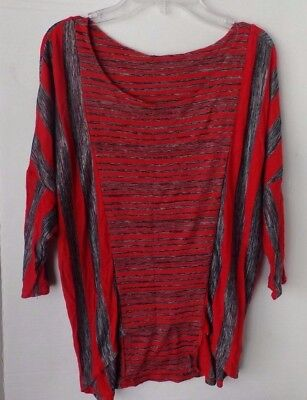Ginger G women's black and red striped 3/4 sleeve top-Size Small-Semi Sheer