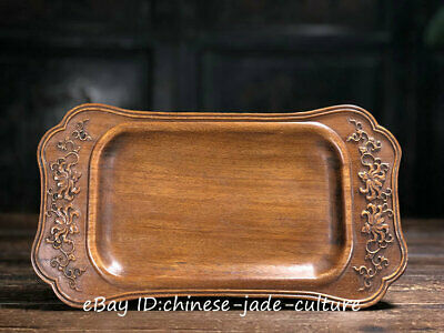 """12"""" Antique Old Huanghuali Wood Carving Flower Classical Plate Dish Salver Tray"""