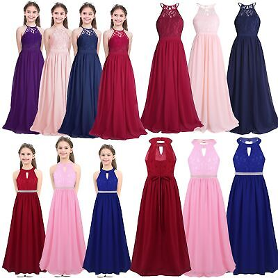 Flower Girls Dress Kids Junior Bridesmaid Wedding Party Princess Prom Long Gown