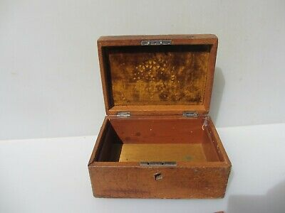 """Vintage Wooden Box Antique Storage Old Wood Snake / Leather Jewellery 8""""W"""