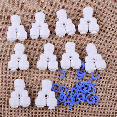 """10pcs 1/4"""" 3 way Y Type Fitting Quick Connector Push Connect Water Tube Hose"""