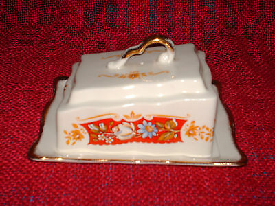 vintage james kent old foley butter/cheese lidded dish with gilding YORK