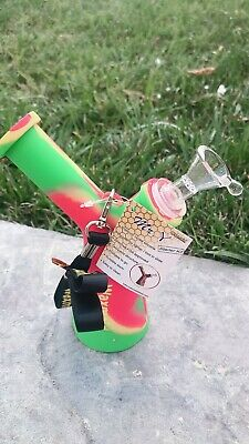 "6.5"" Hookah Smoking Rasta silicone water hand pipe glass bowl bong collectible"