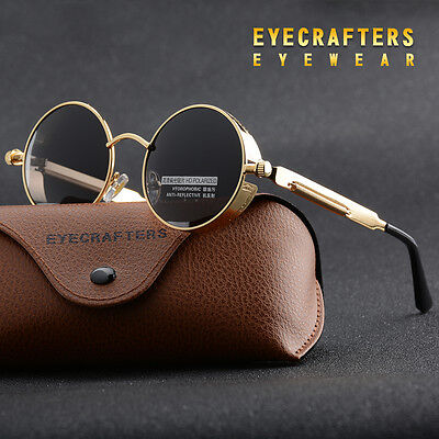 Unisex Retro Vintage Steam Punk Round Sun Glasses Flip-up Sunglasses Polarized