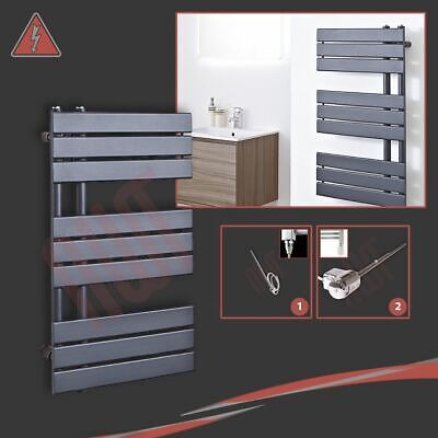 "500mm(w) x 800mm(h) ""Apollo"" Electric Anthracite Designer Heated Towel Rail 300W"