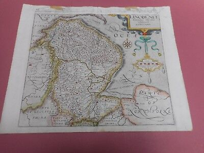 100% Original Lincolnshire Map By Saxton Kip C1610  Scarce Hand Coloured