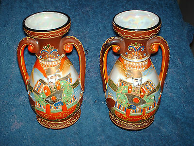 two vintage japanese two handled hand made vases  17 cm high