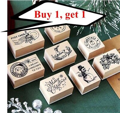Wooden Rubber Stamps DIY Christmas Scrapbooking Stationery Xmas Stamp