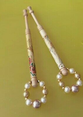 2 Wood Painted Lace Bobbin 1 with Stoat & 1 with Harvest Mouse. Spangles.