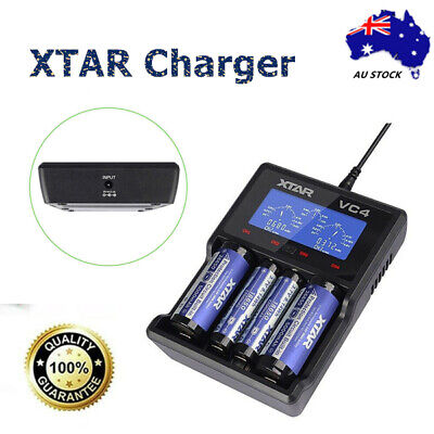 XTAR Battery Charger VC4 18350 Vape 18650 Li-Ion USB Ni-MH LCD CR123A Battery