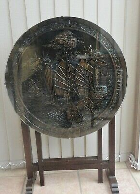 Vintage Oriental Carved Round Top Folding Wooden Table - Chinese Junk design