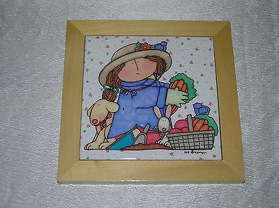 Sue Dreamer Marked Girl Dog Rabbit & Basket of Vegetables Ceramic Tile Trivet