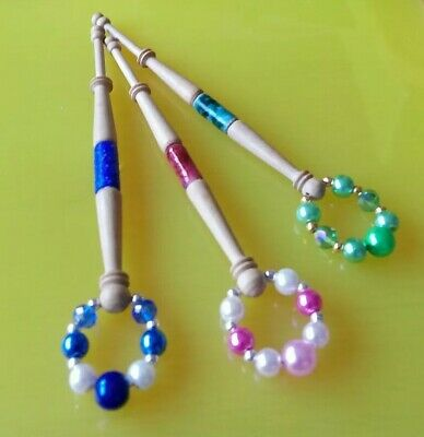3 Wood Turned Lace Bobbins with a Coloured Inlay. Spangles to Match.