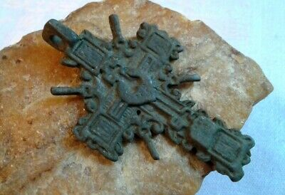 "RARE ANTIQUE 17-18th CENTURY LARGE ORTHODOX ""OLD BELIEVERS"" ORNATE CROSS PENDANT"