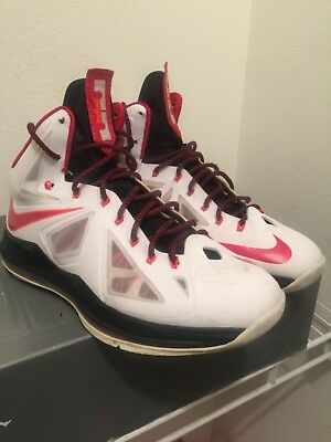outlet store d05af 93551 Nike LeBron X Miami Heat 10 Home White Black Red 541100-100 Air Jordan size