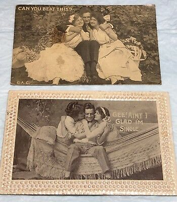 Lot of 2 Romantic Humorous Postcards 1910-1913 I'm Single - Can you beat this?