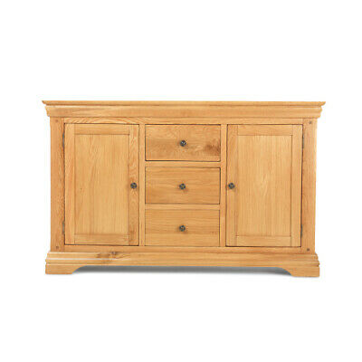 French Solid Rustic Oak Large Sideboard Cupboard Cabinet