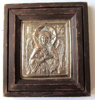 ANTIQUE ANCIENT Orthodox icon silver-plated brass oklad Jesus Christ with wings