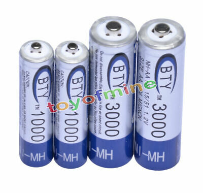 2 AA 3000mAh 2 AAA 1000mAh 1.2V NI-MH rechargeable battery 2A 3A for RC Toy MP3