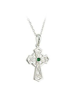 """Silver Cross Pendant Green Trinity Knot Celtic approx 1 1/8"""" tall x 5/8"""" wide"""