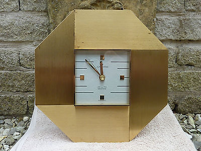 Vintage 1960s Junghans Wall Clock Brass Metal Glass German Battery Working Gold