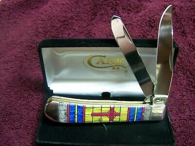 """Case Xx Knife {New Item} Stained Glass Cross Trapper  #38713 4 1/8"""" Closed Nib"""