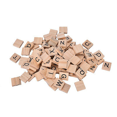100 Wooden Alphabet Scrabble Tiles Black Letters & Numbers For Crafts Wood ZX