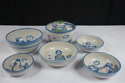 M A Hadley Country Scenes Bowls - Set Of 6
