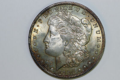 About Uncirculated 1904 New Orleans Mint Morgan 90% Silver Dollar (MDX3523)