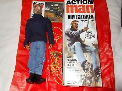 Boxed Vintage Action Man Adventurer with gripping hands and accessories